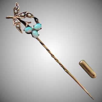 14K YG Opal & Seed Pearl Stick Pin with 9K End Cap