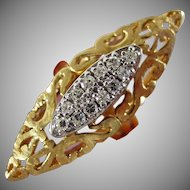 14K Yellow and White Gold Diamond Ring by Garland