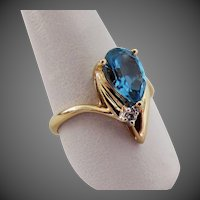 14K YG Blue Topaz  with Diamond Ring Size 6 3/4