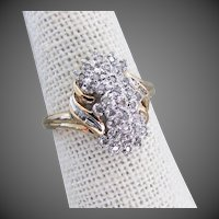 10K YG Diamond Cascade Waterfall Ring Size 7