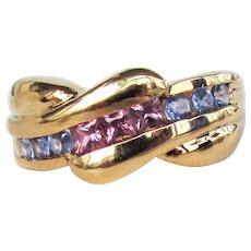 14K YG Ring with Pink Tourmaline & Blue Topaz Size 6