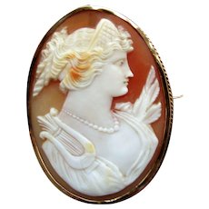 "Hallmarked ""K12"" Gold Cameo Brooch, 1890's-1910"