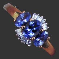 10K YG Tanzanite and Diamond Ring Size 8 1/4