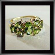 14K Yellow Gold Peridot Ring Size 7 1/4