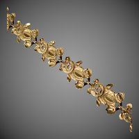 14K YG Teddy Bear Link Bracelet 7 1/2 Inches Closed