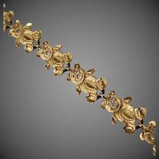 14K YG Teddy Bear Link Bracelet 7 1/2 Inches Closed