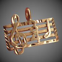 14K YG Music Charm with Music Lines, Clef and 3/4