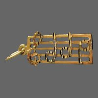 14K YG Music Charm with Music Lines, Clef and Notes