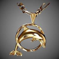 14K YG Dolphin Pendant / Slide, 1988 Design by Michael Anthony