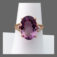 14K YG Size 8 1/2 Ring with Large Amethyst
