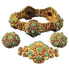 Rare Cannetile Designed Jadeite Gemstone Set: Bracelet, Earrings & Brooch, 1930's