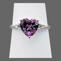 10K WG Amethyst Heart Ring, Size 8 3/4