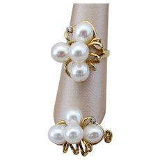 14K YG Cultured Pearl & Diamond Set with Ring and Enhancer Pendant