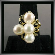 14K Yellow Gold Cultured Pearl Ring Size 7 1/4