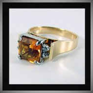 14K YG Citrine Ring with Diamond Accents, Size 7 1/4