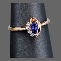 14K YG Tanzanite & Diamond Ring, Size 8