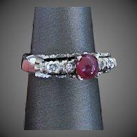 18K WG Cabochon Ruby  Ring Size 7 1/4