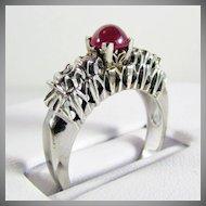 14K WG Cabochon Ruby  Ring Size 7 1/4