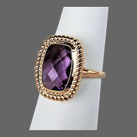 14K YG Checkerboard Cushion Amethyst Ring Size 6 /14