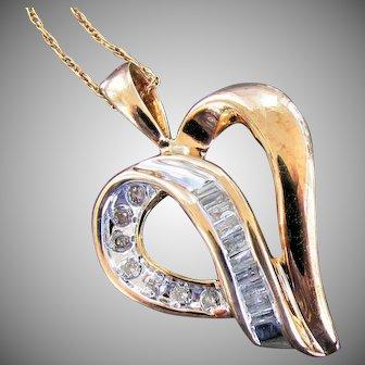10K YG Diamond (.25 Carat) Heart Pendant and Chain Necklace