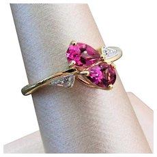 14K YG Pink Topaz Ring Size 7