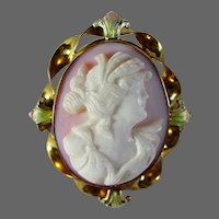 10K YG Pink Queen Conch Shell Cameo Pin & Pendant with Pink & Green Enamel