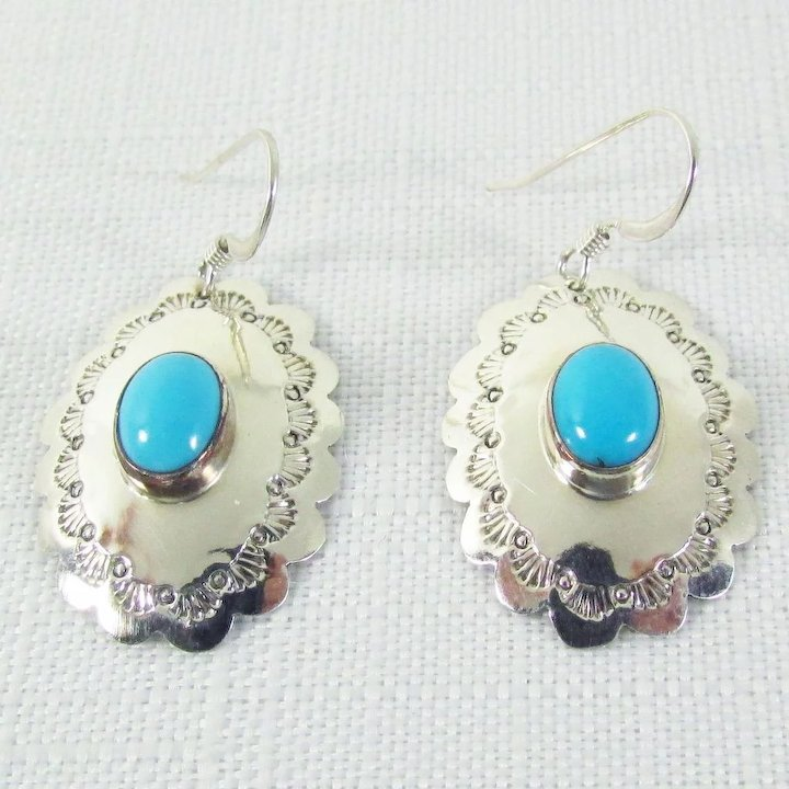 Native American Sterling Silver Turquoise Earrings Signed G Nelson