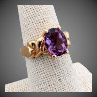 14K YG Amethyst Ring Size 7 1/4