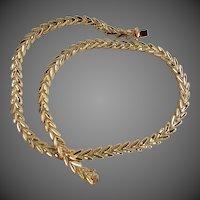 """27.3 grams 14K YG Fancy """"V"""" Link Necklace in Original Case, 17 1/4"""""""