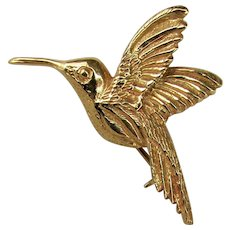 14K YG Hummingbird Pin