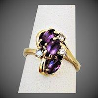14K YG Amethyst Ring with Diamond Accents, Sz 6 1/4