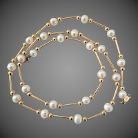 14K YG Gold Bead Necklace with Salt Water Akoya Cultured Pearls, 18 Inches
