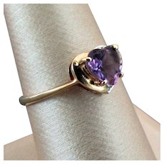 14K YG Amethyst Heart Ring with Diamond Accents, Size 8