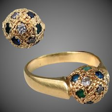 5.2 Grams, 18K YG Ring with Gemstones, Size 8 3/4