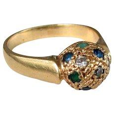 5.2 Grams, 18K YG Ring with Gemstones, Size 8 3/4