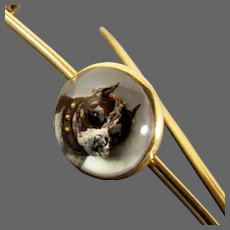 Antique 14K Yellow Gold Bull Dog Reverse Essex Crystal Kilt Pin, Circa 1880's - 1910's