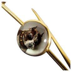 Antique 14K Yellow Gold Bull Dog Reverse Essex Crystal Kilt Pin, Circa 1880's - 1910's