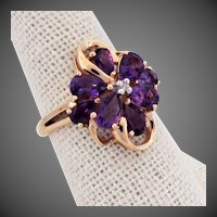 14K YG Amethyst Flower Ring Size 7 1/4