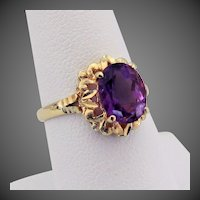 Beverly Hills Gold 14K YG Amethyst Ring Size 7 1/4