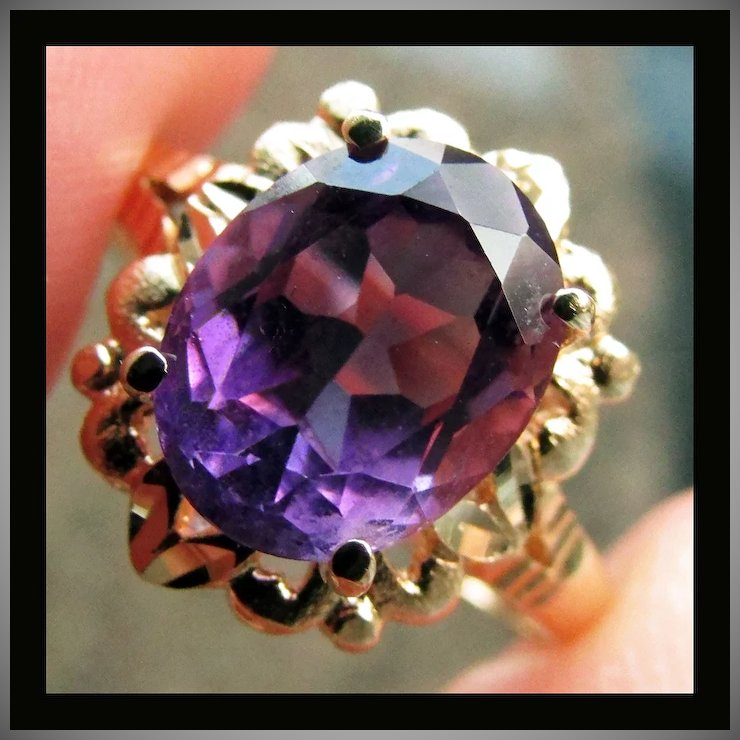 Beverly Hills Gold 14K Yellow Gold Amethyst Ring Size 7 14 The