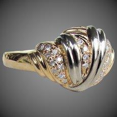 5 Grams 14K Two Toned Diamond Ring Size 9