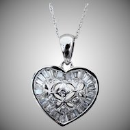 """14K WG Necklace with Domed Diamond Heart Pendant & 18"""" Chain"""