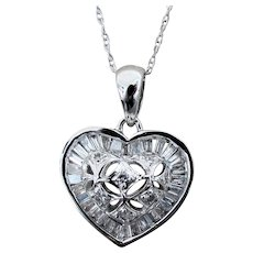 "14K WG Necklace with Domed Diamond Heart Pendant & 18"" Chain"