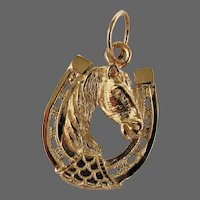14K YG Horse with Horse Shoe Charm / Pendant