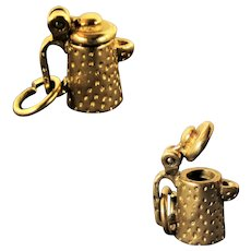 3.9 Grams,  14K YG Teapot or Coffee Pot Charm with Opening Lid