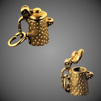 3.9 Grams,  Solid 14K YG Teapot or Coffee Pot Charm with Opening Lid