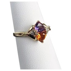 14K YG Amethyst & Citrine Ring with Diamonds Size 6 1/4