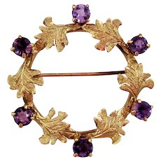 14K YG RETRO Amethyst Wreath / Circle Pin