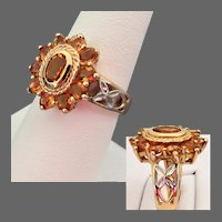 5.6 Grams, 14K Two Toned Gold with Golden Citrine Ring Size 7