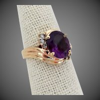 14K YG Amethyst Ring with Diamond Accents, Size 7 1/4
